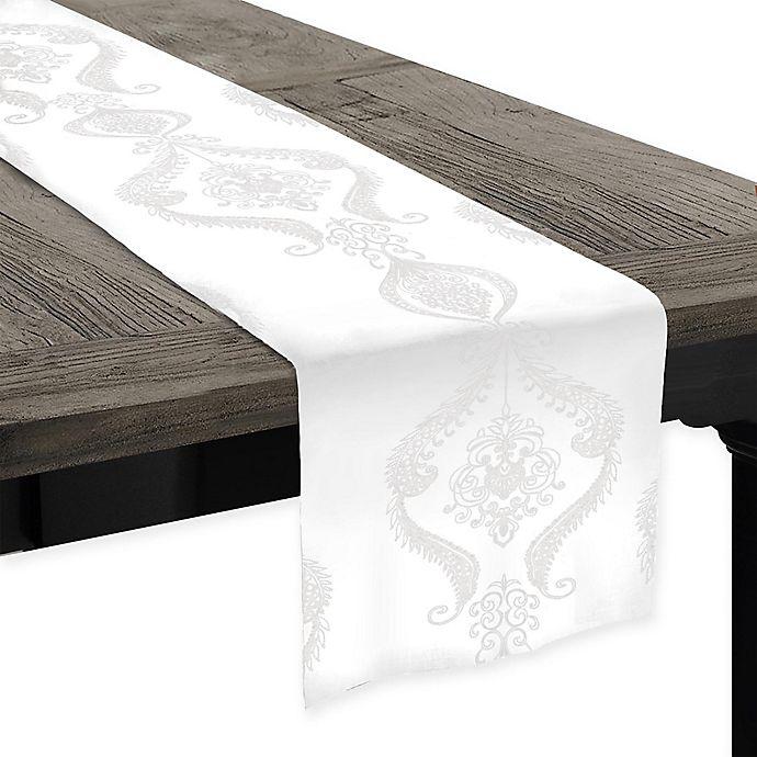 Alternate image 1 for Softline Kendra Embroidered 90-Inch Table Runner in White