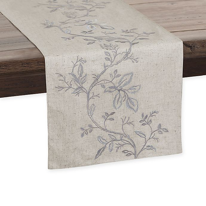 Alternate image 1 for Envogue International 72-Inch Floral Embroidered Table Runner in Natural