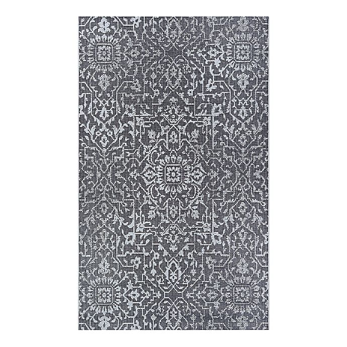 Alternate image 1 for Couristan® Palmette 8'6 x 13' Indoor/Outdoor Area Rug in Black/Grey/Ivory