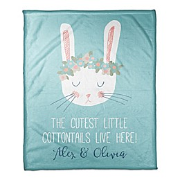 """Designs Direct """"The Cutest Cottontails"""" Fleece Blanket in Teal"""