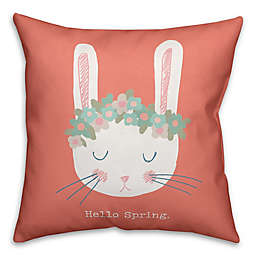 Designs Direct Cute Floral Crown Spring Bunny Throw Pillow
