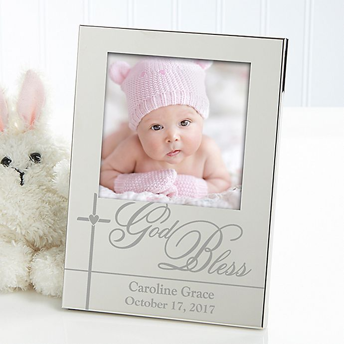 Alternate image 1 for God Bless Baby Silver Picture Frame