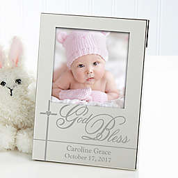 God Bless Baby Silver Picture Frame