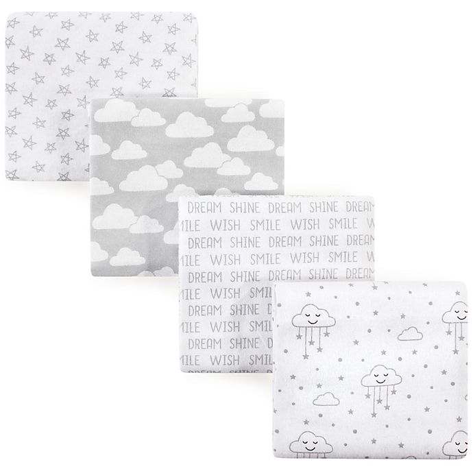 Alternate image 1 for Hudson Baby® Cloud Flannel 4-Pack Receiving Blankets in Grey