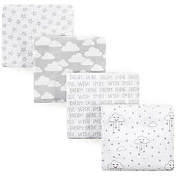 Hudson Baby® Cloud Flannel 4-Pack Receiving Blankets in Grey