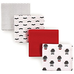 Hudson Baby® Mustache Flannel 4-Pack Receiving Blankets in Red