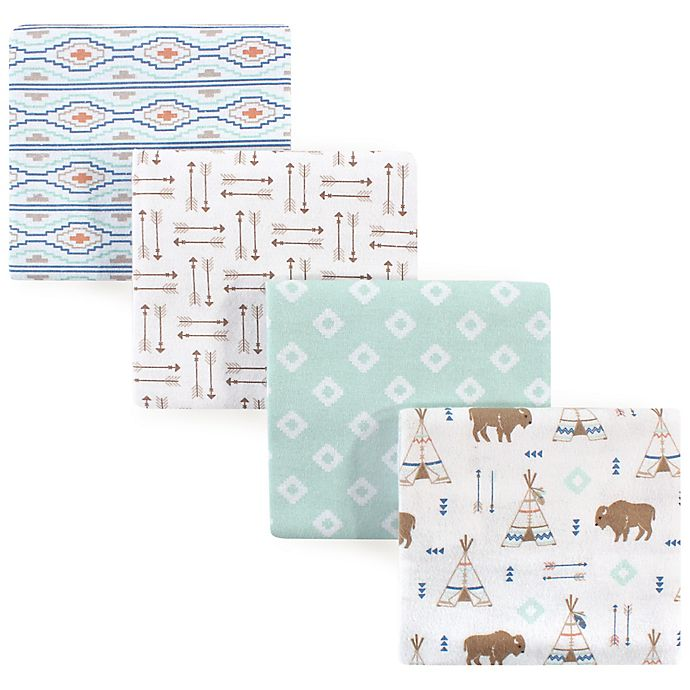 Alternate image 1 for Hudson Baby® Teepee Flannel 4-Pack Receiving Blankets in Blue