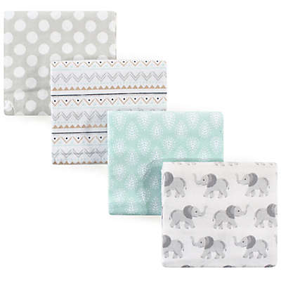 Hudson Baby® Elephant Flannel 4-Pack Receiving Blankets in Green