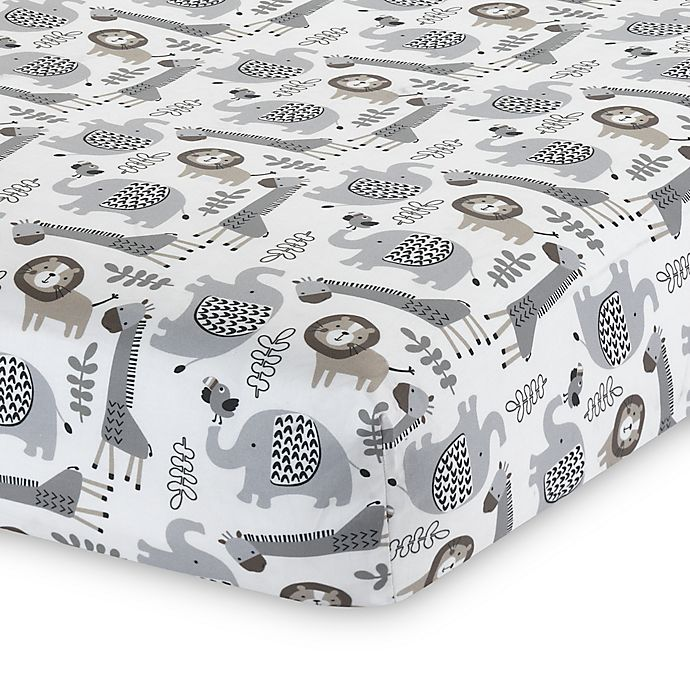 Alternate image 1 for Lambs & Ivy® Urban Jungle Animal Print Fitted Crib Sheet