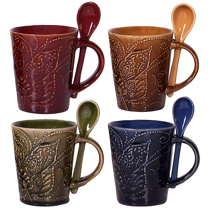 Home Essentials Amp Beyond Montclair Coffee Mugs With Spoons