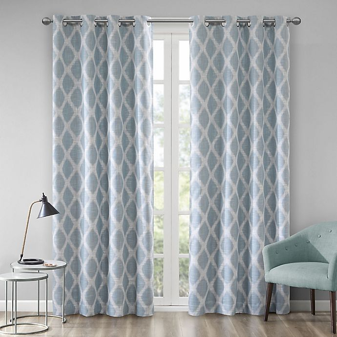 Alternate image 1 for Blakesly Printed Ikat 95-Inch Grommet Top Room Darkening Window Curtain Panel in Aqua