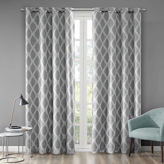Alternate image 1 for Blakesly Printed Ikat 63-Inch Grommet Top Room Darkening Window Curtain Panel in Grey