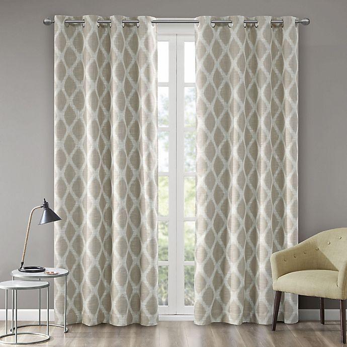 Alternate image 1 for Blakesly Printed Ikat 63-Inch Grommet Top Room Darkening Window Curtain Panel in Taupe
