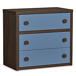 Sierra Ridge Terra 3-Drawer Dresser in Walnut/Blue