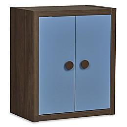 Sierra Ridge Terra Modular Bookcase with Doors in Walnut/Blue