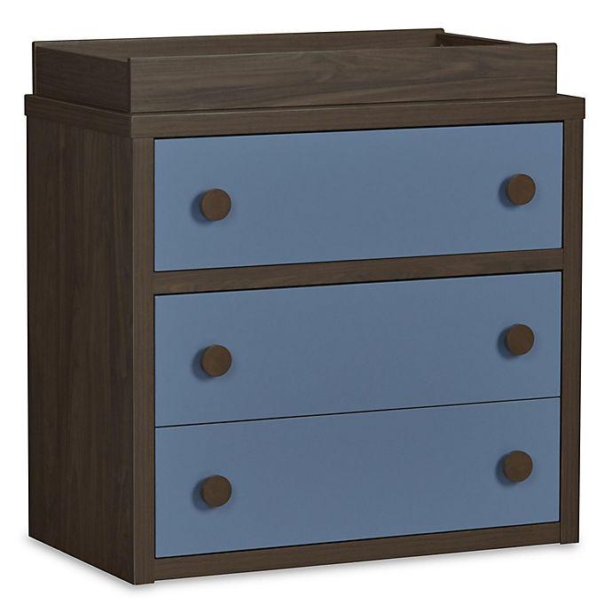 Alternate image 1 for Sierra Ridge Terra 3-Drawer Changing Table in Walnut/Blue