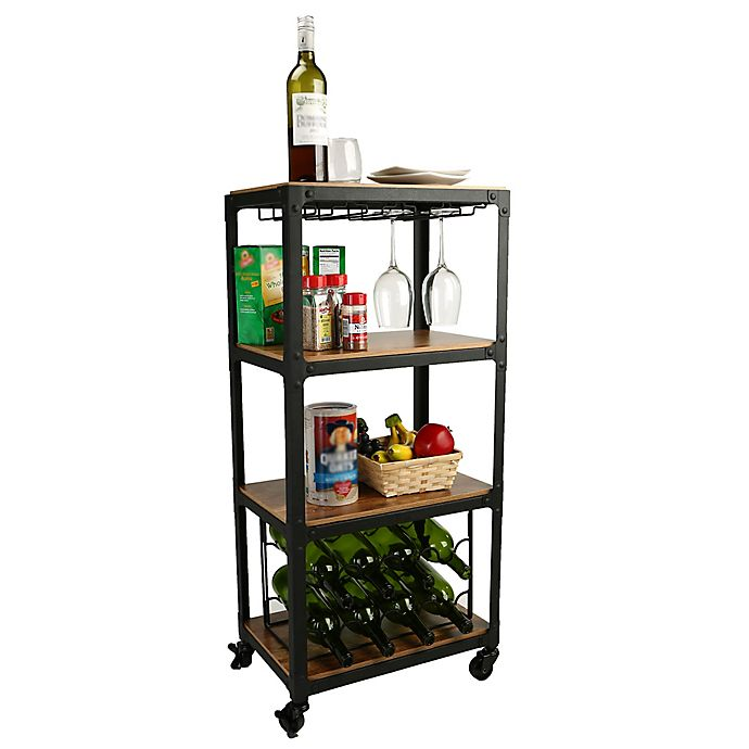 Alternate image 1 for Mind Reader 4-Tier Wood and Metal Cart with Wine Rack