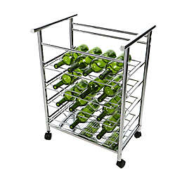 Mind Reader 4-Tier Layered Wine Bottle Mobile Cart in Silver