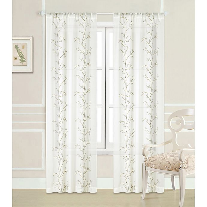 Alternate image 1 for Laura Ashley® Sierra 84-Inch Rod Pocket Window Curtain Panel Pair in Ivory