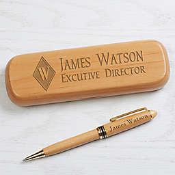 Executive Monogram Personalized Alderwood Pen Set