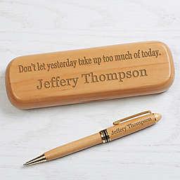 10 Quotes Personalized Alderwood Pen Set