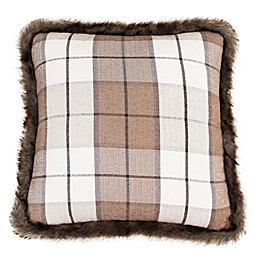 Thro Maven Plaid Fur Trim Square Throw Pillow in Tan