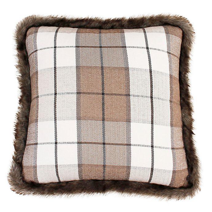 Alternate image 1 for Thro Maven Plaid Fur Trim Square Throw Pillow in Tan