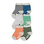 OshKosh B'gosh® Size 3-12M 6-Pack Striped Crew Socks in Orange/Blue/Green