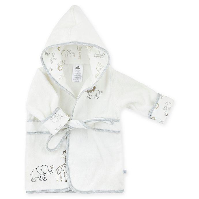 Alternate image 1 for Just Born® Size 0-9M Animal Kingdom Bathrobe in White/Grey