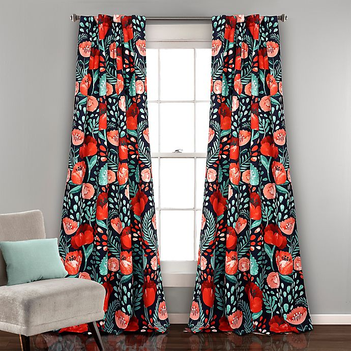 Alternate image 1 for Poppy Garden 84-Inch Room Darkening Rod Pocket/Back Tap Window Curtain Panel Pair in Navy