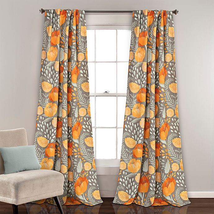 Alternate image 1 for Poppy Garden Room Darkening Rod Pocket/Back Tap Window Curtain Panels (Set of 2)