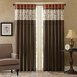 Madison Park Serene Embroidered 84-Inch Rod Pocket Window Panel in Spice