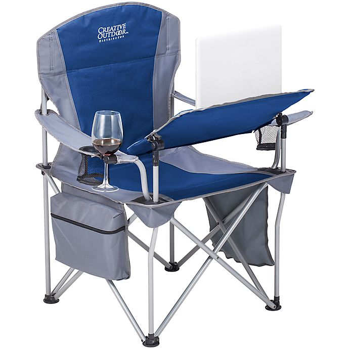Alternate image 1 for Creative Outdoor™ Folding iChair with Wine Holder in Grey/Blue