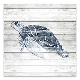 Artissimo Designs™ Blue Turtle on Wood 18-Inch Square Canvas Wall Art