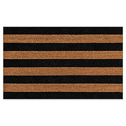 Erin Gates Park Stripe Coir Door Mat in Black