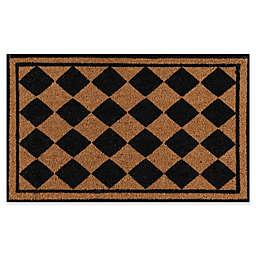 Erin Gates Park Checkered Coir Door Mat in Black