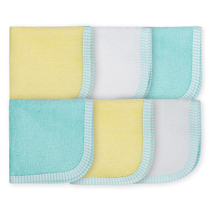 Alternate image 1 for Gerber® Clouds Woven Washcloths in Aqua/Yellow (Set of 6)