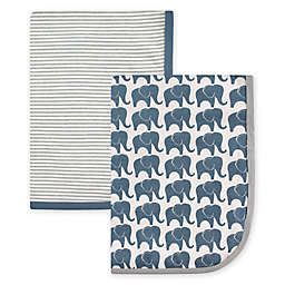 Hudson Baby® 2-Pack Elephant Interlock Swaddling Blankets in Blue