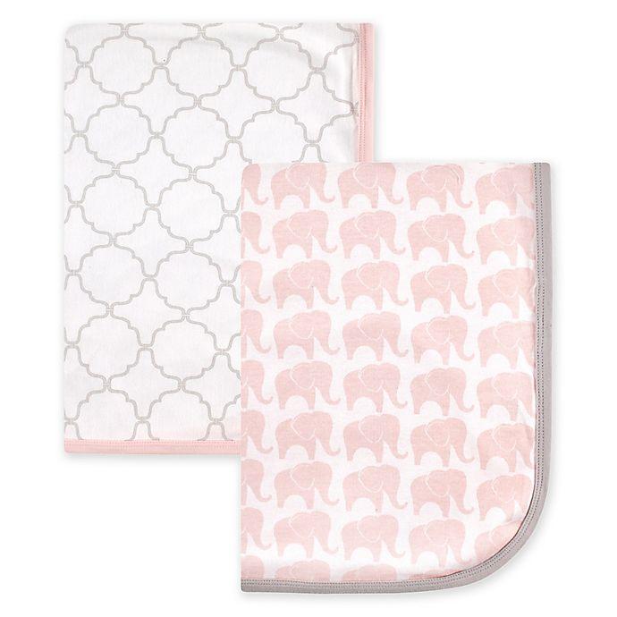 Alternate image 1 for Hudson Baby® 2-Pack Elephant Interlock Swaddling Blankets in Pink