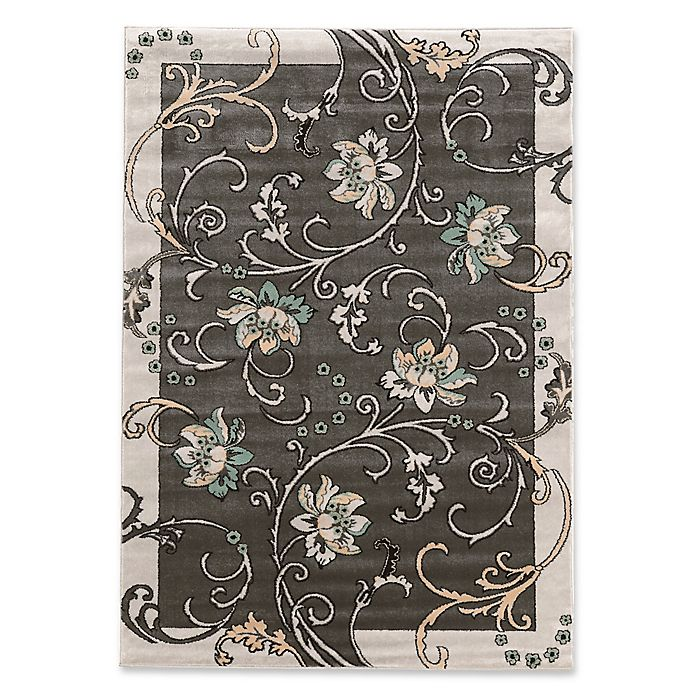 Alternate image 1 for Linon Home Ellegance 2' x 3' Flowers Accent Rug in Light Grey