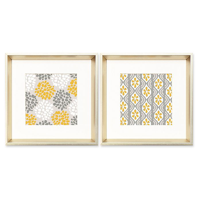 Alternate image 1 for Designs in Grey, White, And Yellow 18-Inch Square Framed Wall Art (Set of 2)