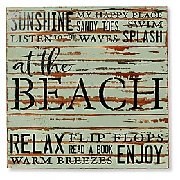 Sweet Bird & Co Beach Collage 24-Inch Square Wood Sign