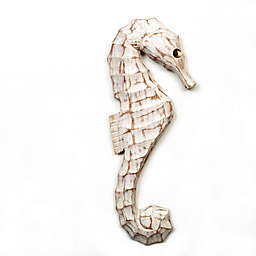T.I. Design 6-Inch x 15-Inch Wooden Seahorse Wall Art
