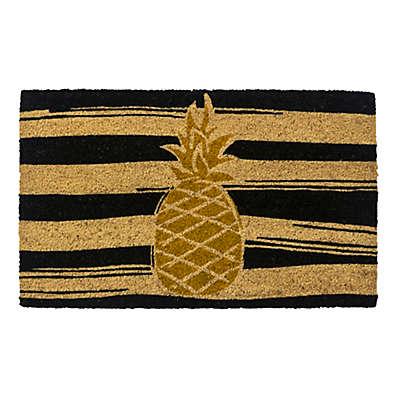 """Entryways Golden Pineapple 17"""" x 28"""" Coir Door Mat in Gold/Black"""