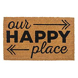 """Entryways Happy Place 17"""" x 28"""" Coir Door Mat"""