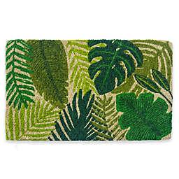 "Entryways Tropical Leaves 18"" x 30"" Coir Door Mat in Green"
