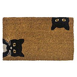 """Entryways Peeping Cats 18"""" x 30"""" Coir Door Mat in Black/White"""