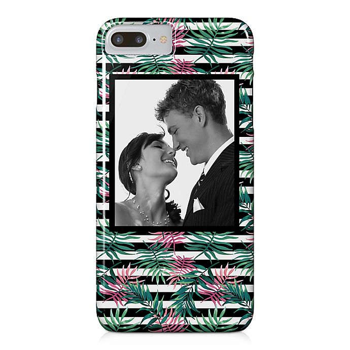 Alternate image 1 for Designs Direct Pink Palm Stripes iPhone® 8 Plus Case