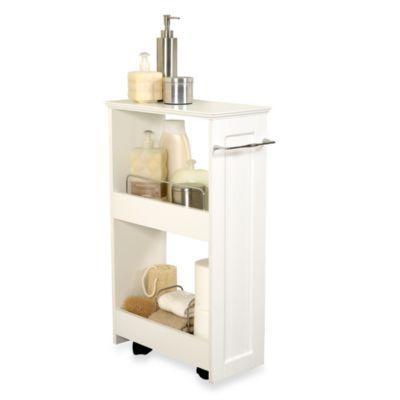 Zenna Home Rolling Storage Bath Shelves In White