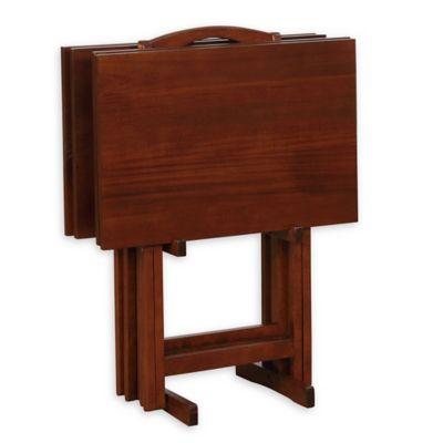 Powell Hazelnut Tray Tables Set Of 4 Bed Bath Amp Beyond